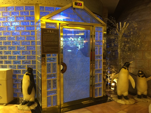This is a Seokbingko, aka an ice room.  It is basically like a giant walk in refrigerator! I do like the penguins out front though :)